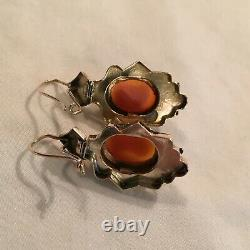 10K Gold Victorian Cameo Earrings, Hard Stone Micro Carved, circa 1860
