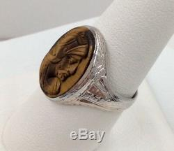 10K White Gold Victorian Carved Tigers Eye Cameo Ring Size 7 3/4