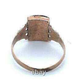 10k Gold Victorian Genuine Natural Black Onyx Carved Intaglio Ring (#J5154)