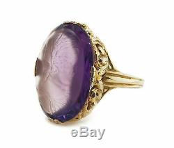 14CT Yellow Gold Amethyst Bi-Color Intaglio Carved Victorian Ring