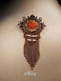 14KT Yellow Gold Victorian PIN PENDANT With BEAUTIFULLY CARVED CORAL FLOWER