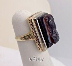 14K 2 Tone Gold Victorian Carved Knight Cameo/Ring Size 2