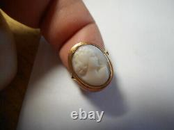 14K Gold Carved Angel Skin Coral Cameo RING Size 4.5 Victorian Georgian fine