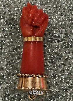 14K Gold Carved Figa Coral Jeweled Hand Charm Victorian Pendant