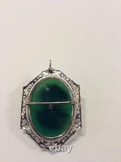 14K White Gold VICTORIAN GREEN CARVED CAMEO PENDANT BROOCH PIN