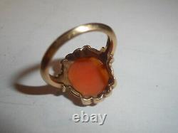 14K Yellow Gold Victorian Carved Shell Cameo Ring 100 years Old Mint size 4.5