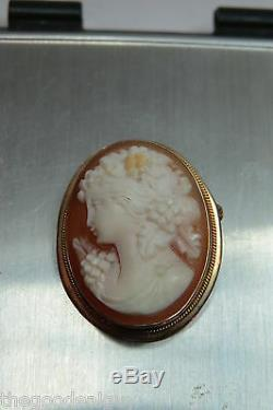 14Kt Beautiful Victorian Carved Lady Portrait Cameo 14KT GOLD PENDANT/BROOCH