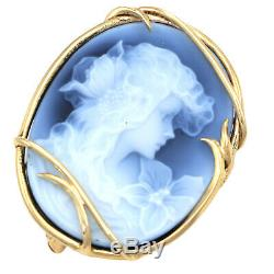 14k Gold Blue Agate Gibson Girl Onyx Carved Cameo 1870s Victorian Brooch Pin