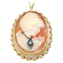 14k Gold Carved Gibson Girl Carnelean Diamond Cameo Victorian Necklace Pendant
