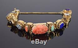 14k Gold Victorian Style Slide Bracelet 11 Panels Carved Coral Cameo