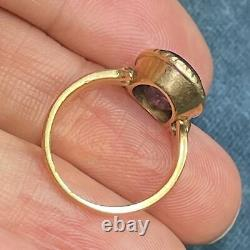 14k Yellow Gold Carved Amethyst Victorian Cross Ring. Gothic
