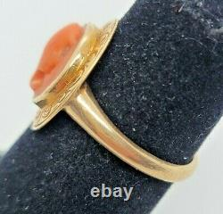 14k Yellow Gold Edwardian 1890's Victorian Hand Carved Cameo Ring Size 6 1/2