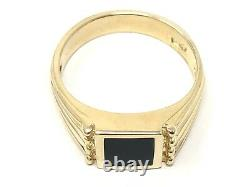 14k Yellow Gold Solid Square Black Onyx Ring Sizes 5-9
