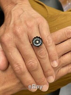15ct Gold Victorian Carved Agate Diamond Shell Ring 15K