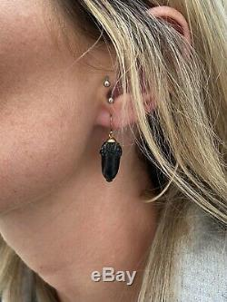15ct Gold Victorian Carved Whitby Jet Acorn Novelty Earrings 15K