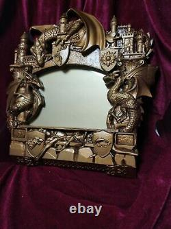 16x16 Game of Thrones Antique gold Wall Mirror Carved on Oak