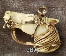 1800's 10k gold Antique Victorian Hand Carved Horse Head Fob Charm Pendant