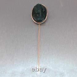 1860's Antique Victorian 14k Yellow Gold Carved Blood Stone Cameo Pin