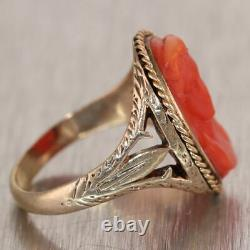 1870's Antique Victorian 14k Yellow Gold Carved Coral Cameo Woman Face Ring