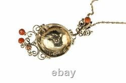 1880's Antique Victorian 14K Yellow Gold Coral Carved Dangle Pendant Necklace