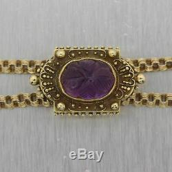 1880's Antique Victorian 14k Yellow Gold Carved Amethyst Slide 64 Chain Necklac