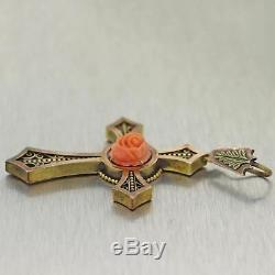 1880's Antique Victorian 14k Yellow Gold Carved Coral Cross