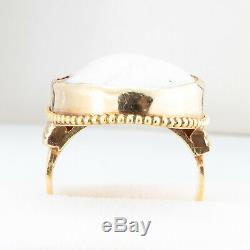 1880's Estate Victorian 14k Yellow Gold Carved Portrait Cameo Ring Size 7