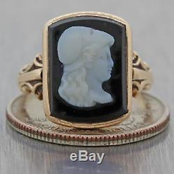 1880s Antique Victorian 14k Rose Gold Carved Cameo Onyx Cocktail Ring C8