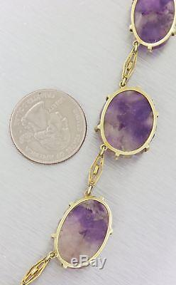 1880s Antique Victorian 14k Yellow Gold Carved Lavender Jade Pendant Necklace Y8