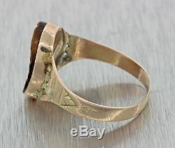 1880s Antique Victorian 14k Yellow Gold Carved Portrait Tigers Eye Cocktail Ring