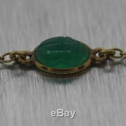 1890's Antique Victorian 14k Yellow Gold Carved Green Onyx 58 Necklace
