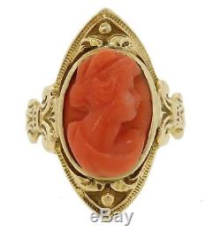 1890s Antique Victorian 10k Solid Yellow Gold Carved Coral Cameo Lady Ring