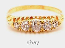 18ct gold Victorian diamond carved head five stone ring size R Birmingham 1899