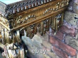 19th Century Carved Gold Gilt Wood Console Table With A Marble Top