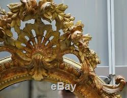 19th Century French Gold Giltwood Mirror, Gesso Carving Floral Ribbon & Shell