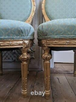 1 of Pair Antique FRENCH LOUIS GOLD Gilt Shabby Chic Carved Hall Boudoir Chair