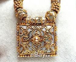 22kt Carved Greek Gold Necklace 22kt Gold Iconic Emblem Fused Beads