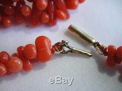 26 Victorian Natural Coral Carved Barbell Bead Necklace-10k Solid Gold-34.1 gr