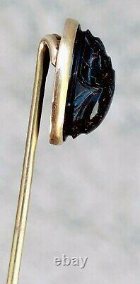2.5 Victorian Era Solid 14k Yellow Gold Carved Bloodstone Scarab Lapel Hat Pin