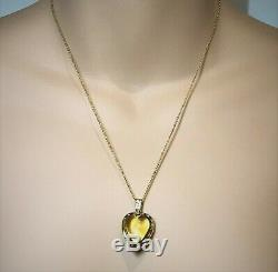 9ct Gold Antique Victorian Pendant set with Carved Crystal Quartz Heart