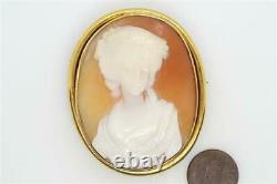 ANTIQUE 15K GOLD CARVED SHELL VICTORIAN LADY CAMEO BROOCH / PENDANT c1870
