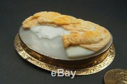 ANTIQUE 9K GOLD FINELY CARVED SHELL DIONYSUS / BACCHUS CAMEO BROOCH c1880