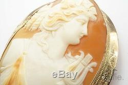 ANTIQUE 9K GOLD HAND CARVED SHELL CAMEO BROOCH ORPHEUS c1900