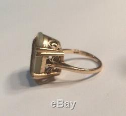 ANTIQUE 9ct GOLD MOTHER OF PEARL RING VICTORIAN CARVED GREEK GOD APOLLO & LYRE