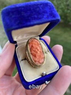 ANTIQUE ART NOUVEAU ARTS CRAFTS CARVED RED CORAL 14K GOLD RING Sz 5