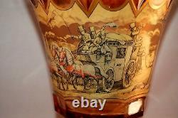 ANTIQUE Bohemian Czech Heavy Crystal Carved Vase WithCoach Scene & Mountains