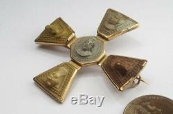 ANTIQUE EARLY VICTORIAN GOLD CARVED LAVA CAMEO MALTESE CROSS BROOCH c1820
