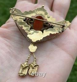 ANTIQUE GEORGIAN VICTORIAN 14K GOLD CARVED RED CORAL CAMEO REPOUSSE BROOCH 73mm