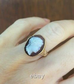 ANTIQUE GEORGIAN VICTORIAN CARVED CARNELIAN CAMEO 10K GOLD RING 16x13 mm 5.5gr