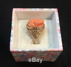 ANTIQUE GOLD RING withVICTORIAN CARVED CORAL CAMEO WOMANS PORTRAIT size 8.5